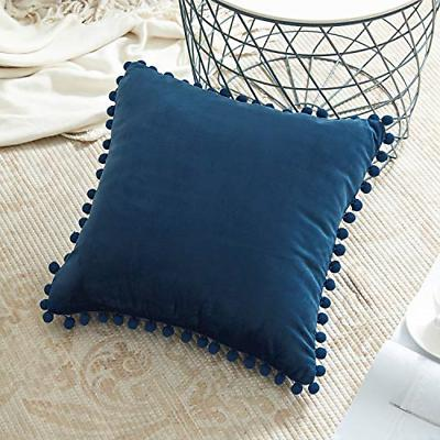 decorative throw pillow covers with pom poms