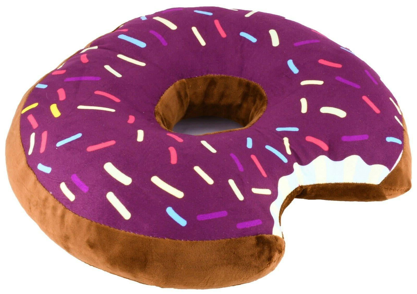 Donut Shaped Plush Sprinkled Comfy Seat Cushion Food Throw Pillow Toy