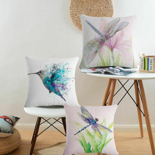 dragonfly painting cotton linen pillow case throw