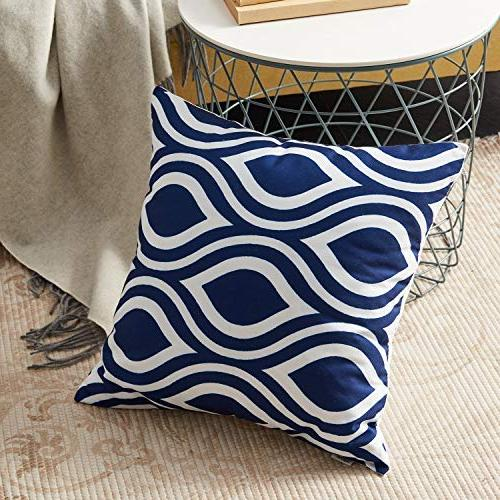 Top Finel 100% Canvas Square Decorative Pillows Cushion Pillowcases for of 6,18×18 Inch-Navy