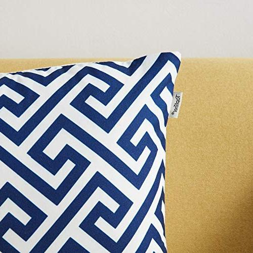 Top Finel 100% Canvas Pillows for 1 of 6,18×18 Inch-Navy