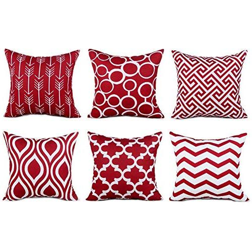 Top Finel Canvas Square Pillows Cushion for of 6,18×18 Inch-Navy
