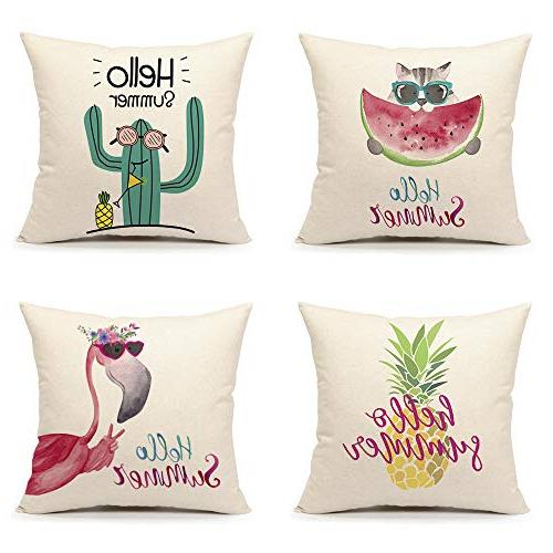 emotion summer throw pillow cover pineapple flamingo
