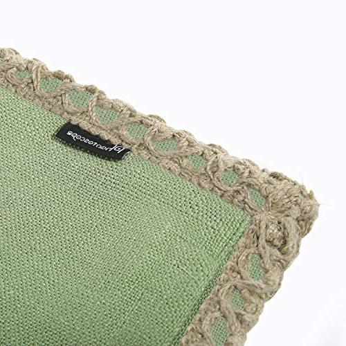 Phantoscope Farmhouse Burlap Trimmed Pillow Case Green 30