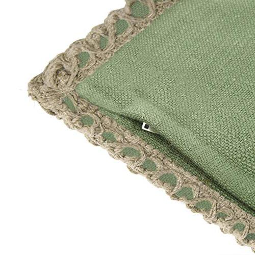 Phantoscope Burlap Trimmed Tailored Pillow Case Cushion Green 30 x