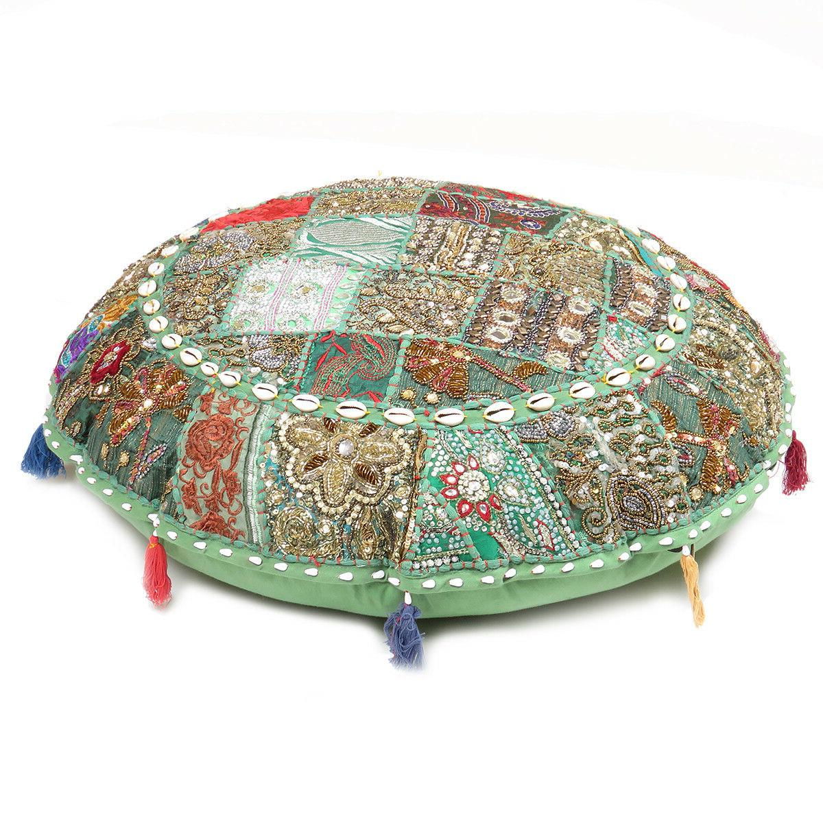 Floor Pillow Cushion Round Cover Patchwork