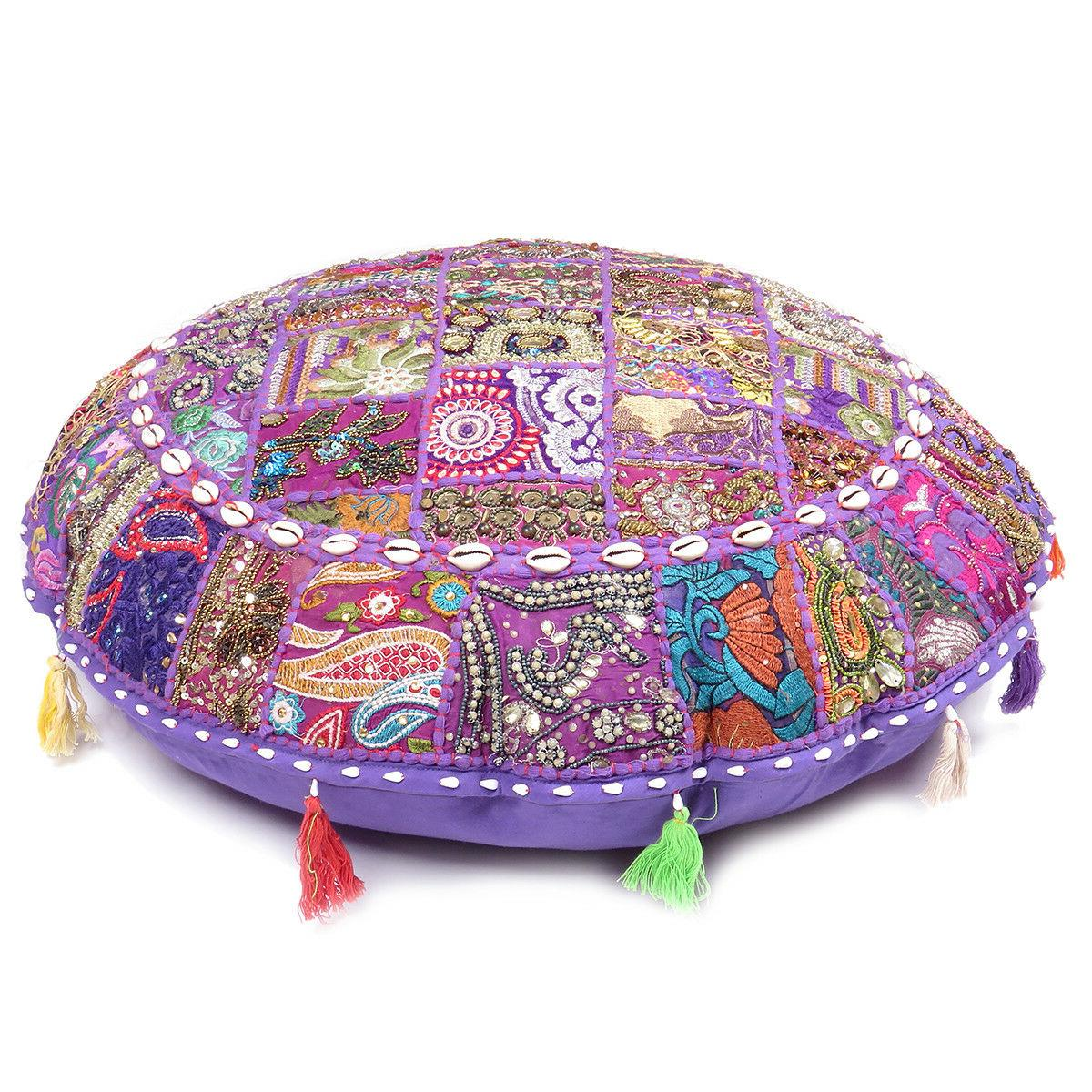 Floor Pillow Round Meditation Patchwork Covers