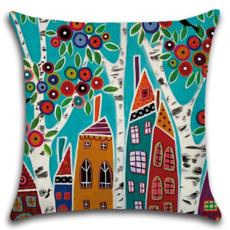 Floral Pillows Office Car Waist Throw Cover Home Decor