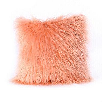 Fluffy Faux Throw Pillow Soft Chair Cover