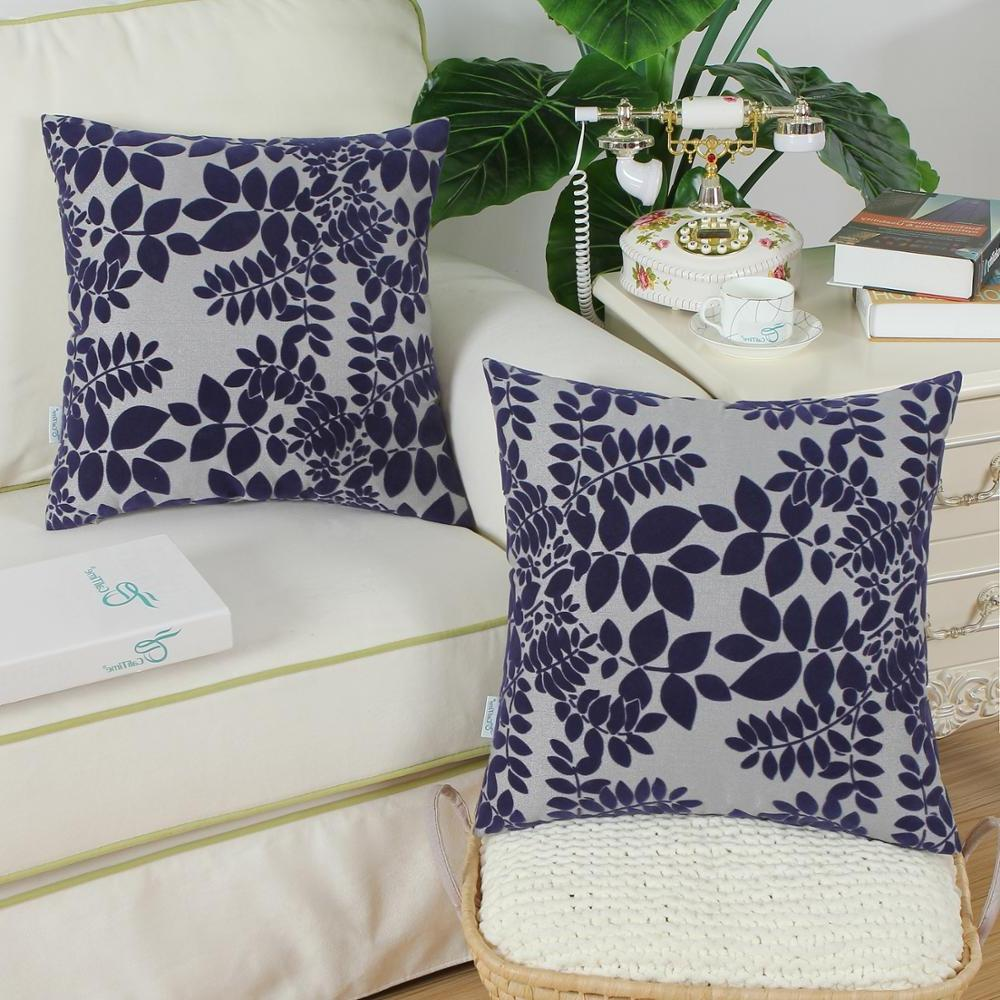 <font><b>CaliTime</b></font> of <font><b>Throw</b></font> for Couch Sofa Decoration X inches Flocking Cute Grey Navy <font><b>Blue</b></font>