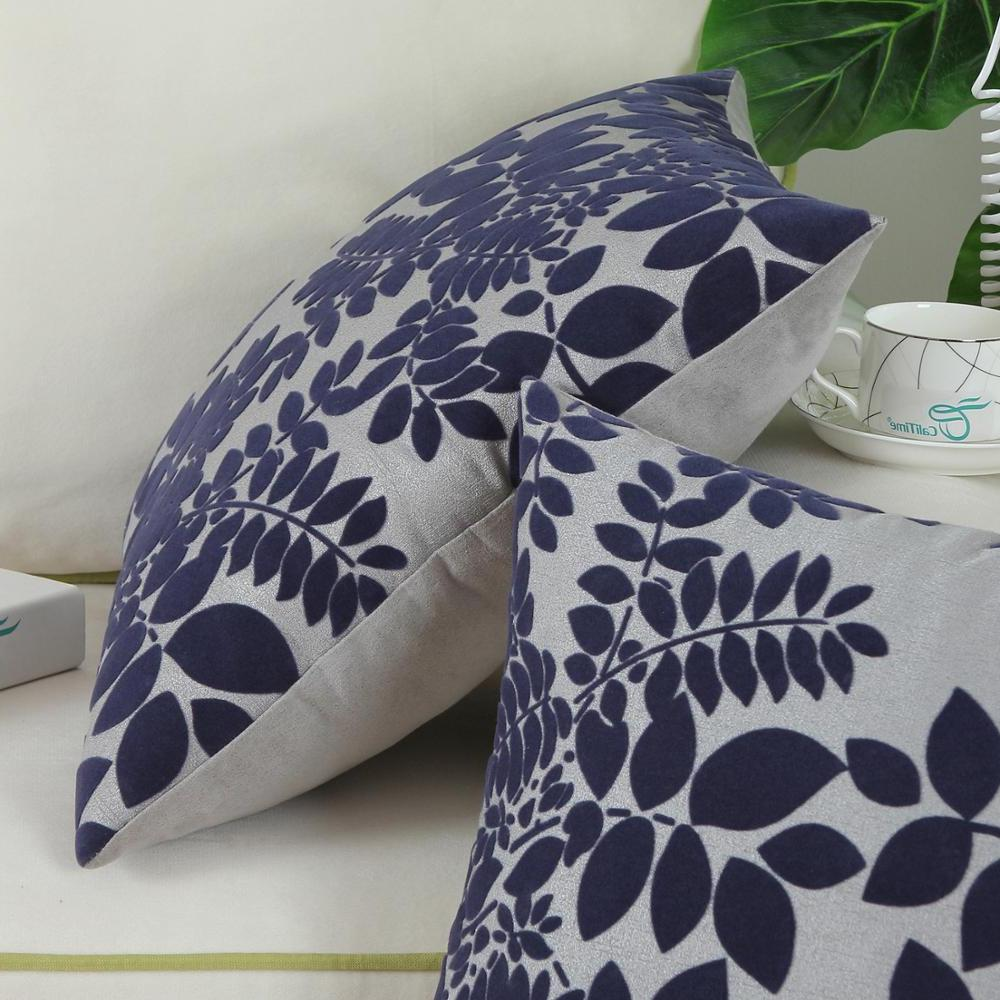 <font><b>CaliTime</b></font> of <font><b>Throw</b></font> Cases for Couch Sofa Decoration inches Flocking Grey Navy
