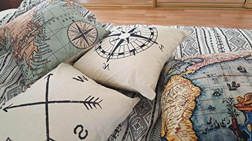 Wonder4 Geography Pillow Covers Home Map Throw Pillow Cases Couch Decoration,2X Maps +1x X 18 for Home Set of