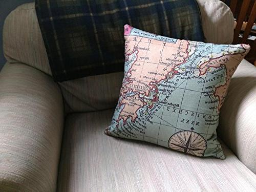 Wonder4 Throw Pillow Map Cases Covers Maps +1x X Inch Home of