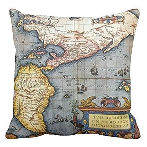 Wonder4 Pillow Decorative Map Cases Couch Maps +1x X Home of 4