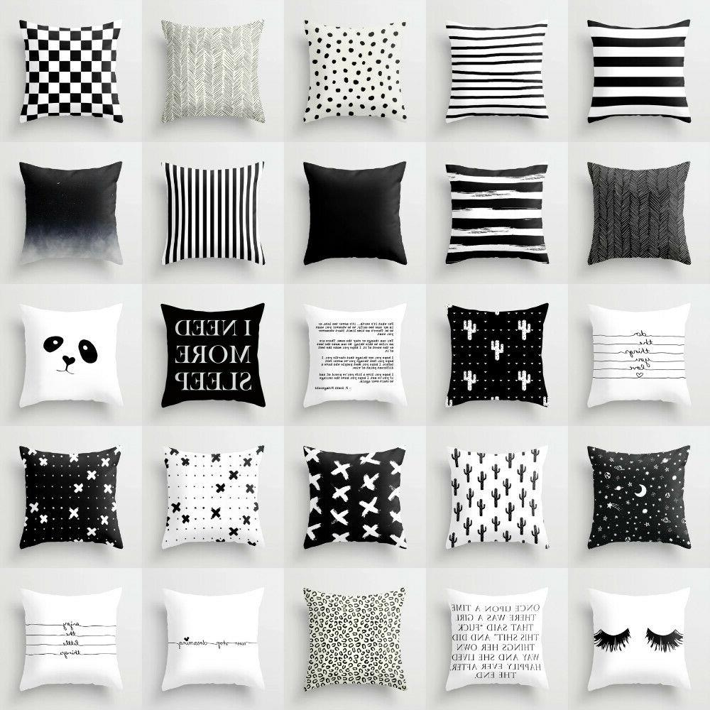 geometric pillows case throw cushion cover black