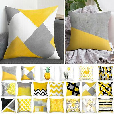 geometric square yellow cushion cover throw pillow