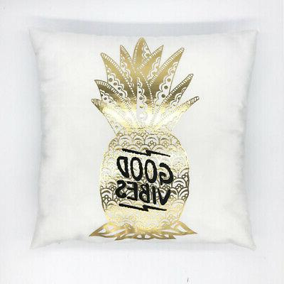 Gold Throw Pillow Case Sofa Cushion Cover Home Decor