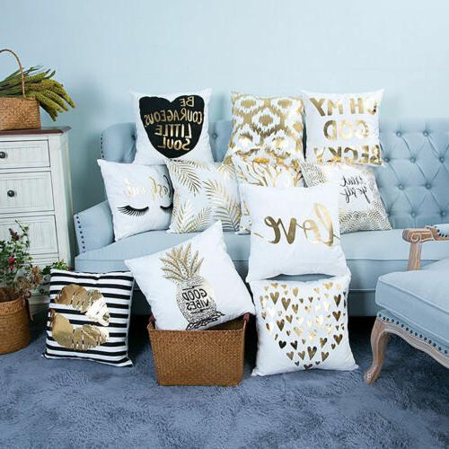 Gold Shining Linen Throw Pillow Vintage Sofa Decor