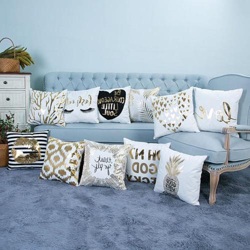 Gold Shining Linen Waist Throw Pillow Case Sofa Decor