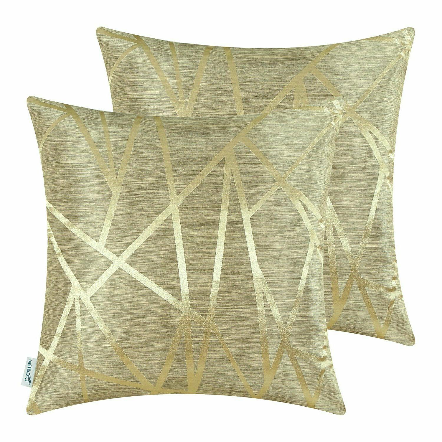 gold throw pillow covers modern contrast abstract
