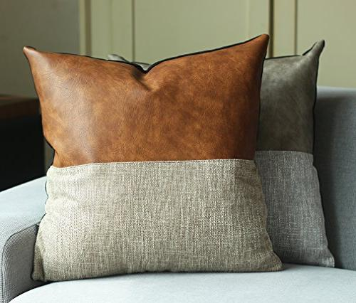 Kdays Halftan Cover Designer Modern Pillow Cover Decorative Faux Leather Pillow Cover