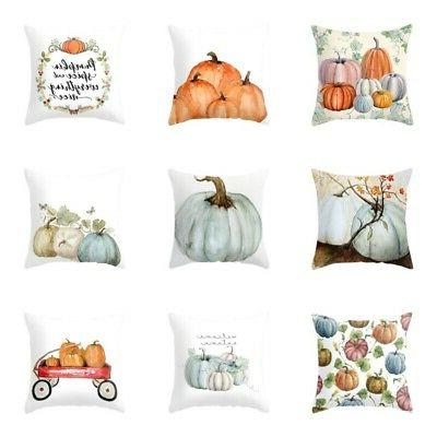 US Fall Halloween Pumpkin Pillow Case Waist Throw Cushion Co