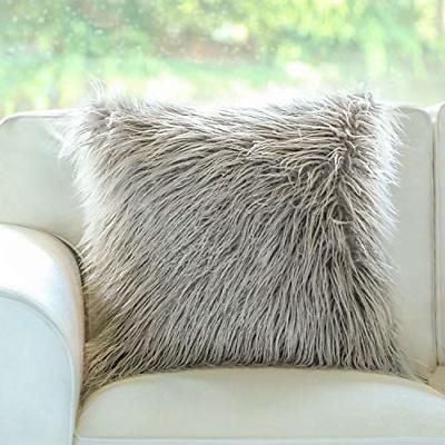 insert included throw pillows grey faux fur