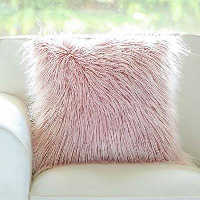 insert included throw pillows pink faux fur