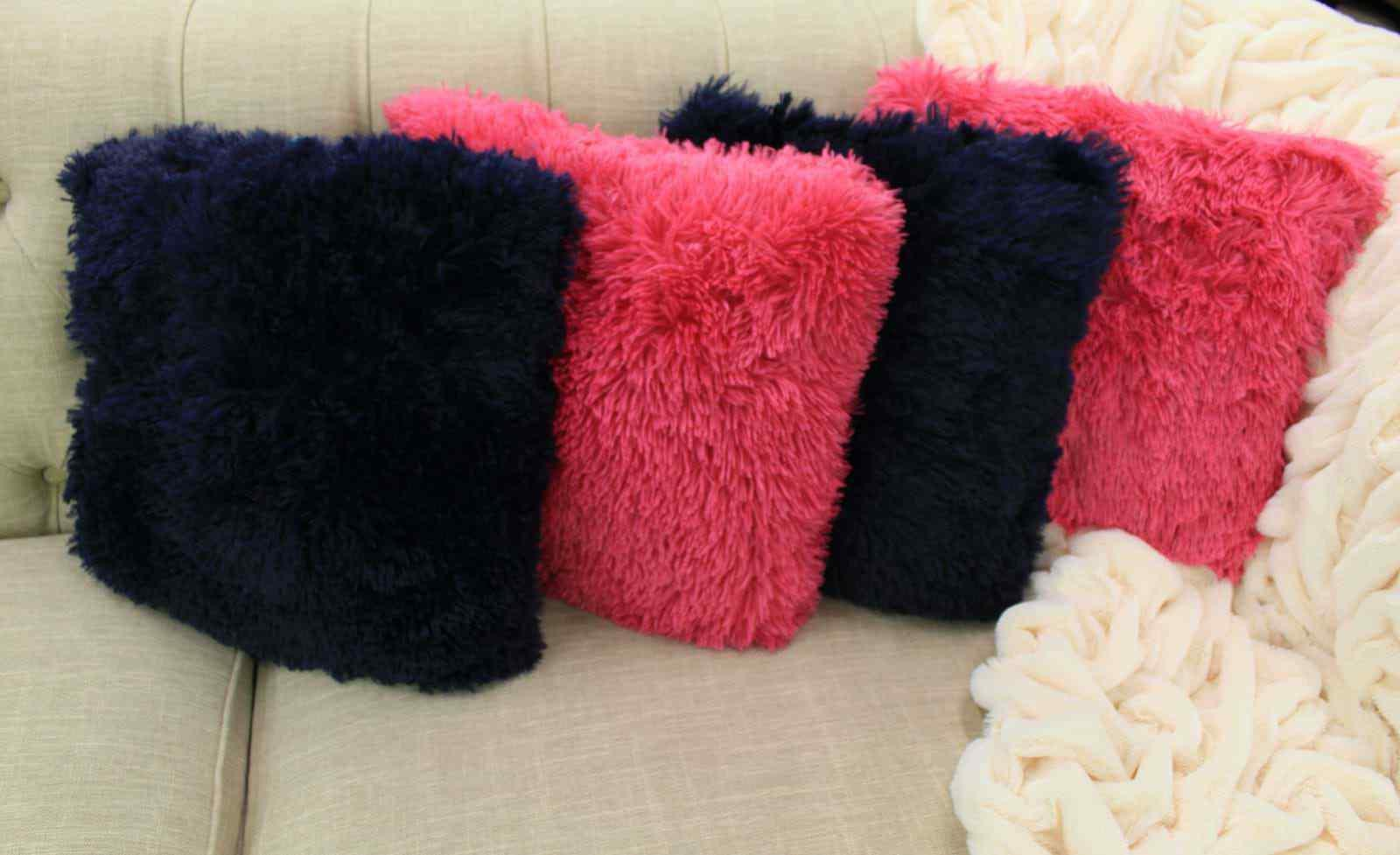Kelly Square Shaggy Furry Throw Pillow