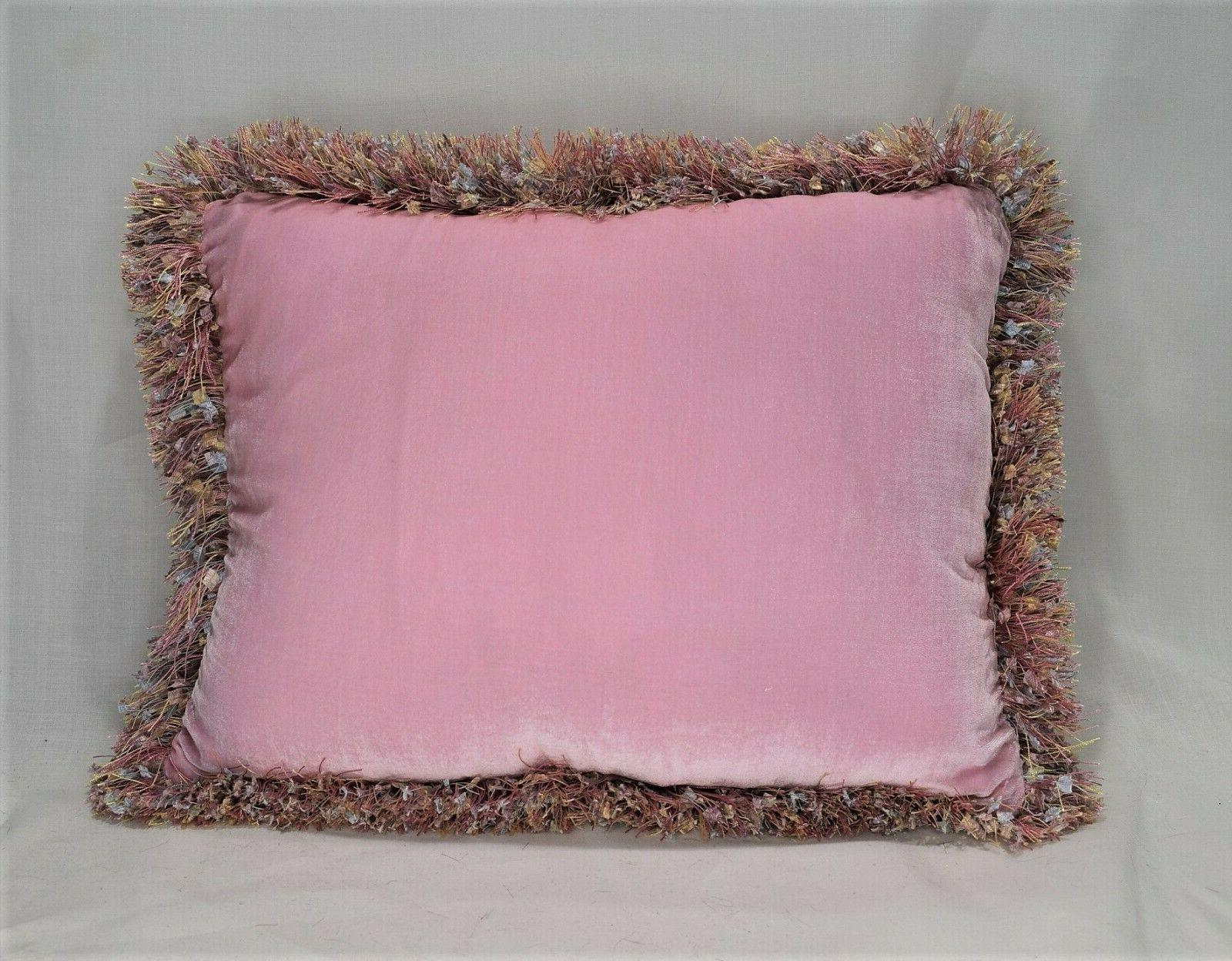 large solid pink silk velvet throw with fringe for