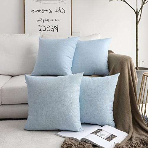 HOME Cushion 2 Decorative Throw Covers for x 18 Light Blue