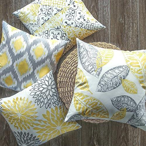 """Phantoscope Set of New Living Yellow and Grey Pillow Case 18"""" x"""