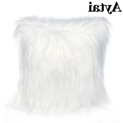 Luxury Pillow Covers Fur Cushion Bed Sofa