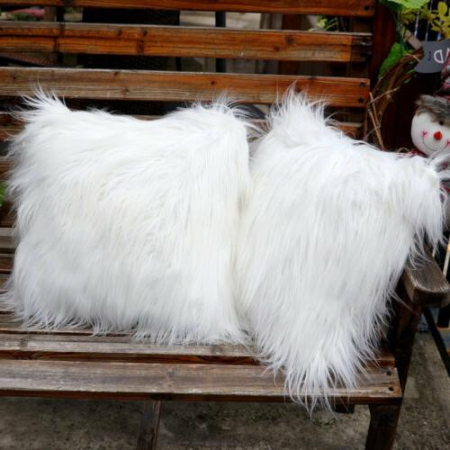 Luxury White Fur Throw Pillow Case Cushion Cover Pillow Cove