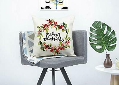 4TH Emotion Berry Wreath Pillow Cover Cushion for