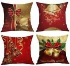 BLUETTEK Merry Christmas Series Cotton Linen Decorative Thro