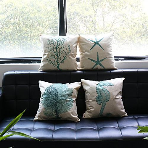 Home Nautical Themed Seaside Set of 4 Light Green Cushion Cover Durable Cotton