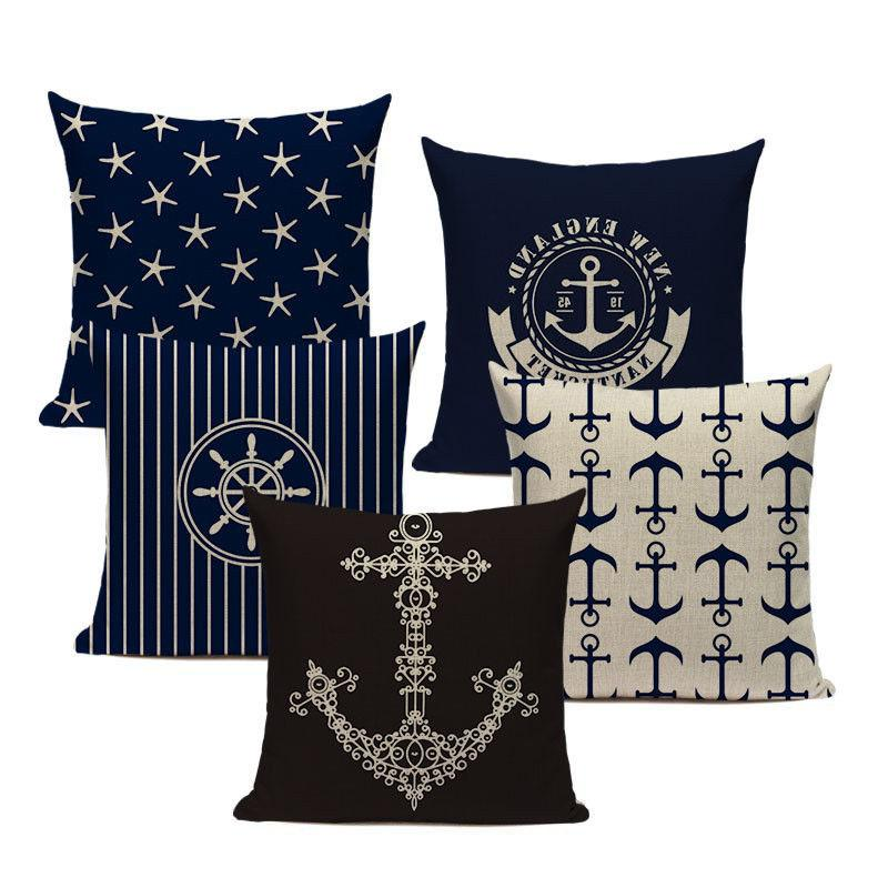 nautical throw pillows velvet anchor sea style