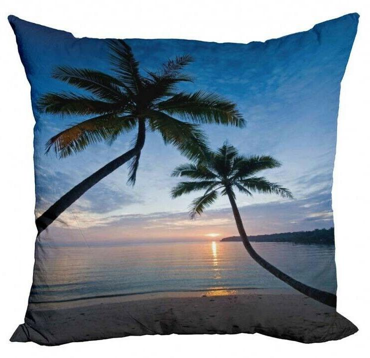 NEW Ambesonne Tropical Palm Sunset Beach Summer Pillow Cover