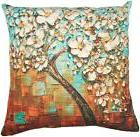 Oil Painting White Flower Black Tree Throw Pillow Cushion Co