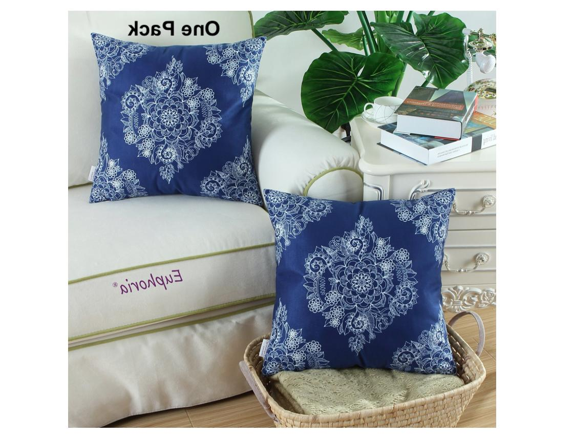 CaliTime of Cozy Pillow Cases Covers, Mandala Floral 18 X