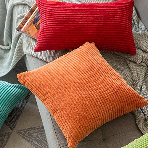 MIULEE Pack Corduroy Square Set for Sofa 18 18 Inch 45 x 45 cm