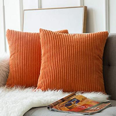 MIULEE of 2, Corduroy Soft Square Throw Pillow Covers Set for 18 45