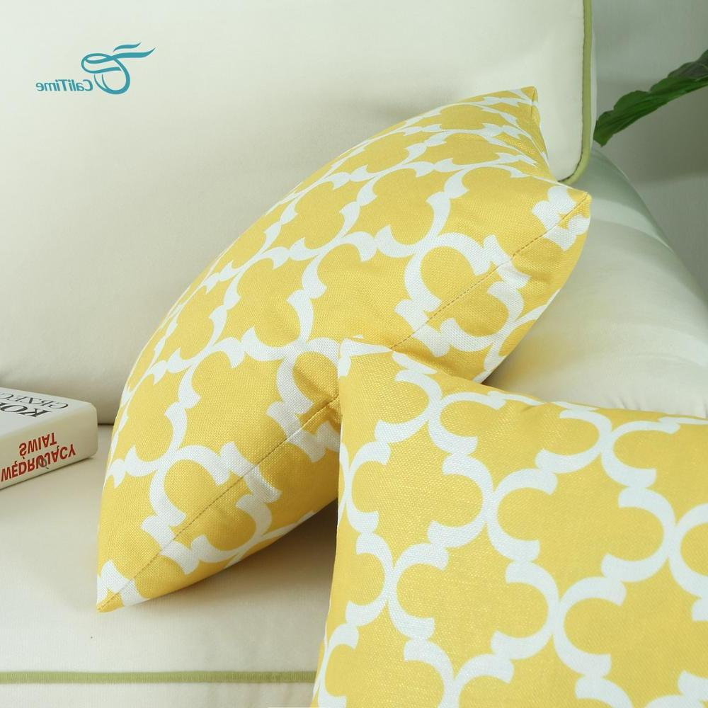 Pack of Soft Canvas <font><b>Pillow</b></font> Covers Cases Home Modern Quatrefoil 16 Inches