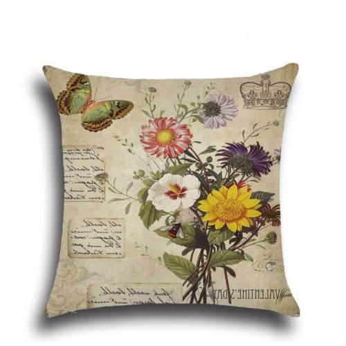 Pillow Cotton Linen Home Bed Tree Pattern
