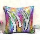 MYAFASHION Pillow Cover Cushion Case Reversible Sequin Swipe