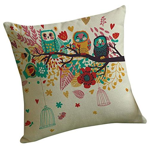 pillow cover happy tree bird pillow case