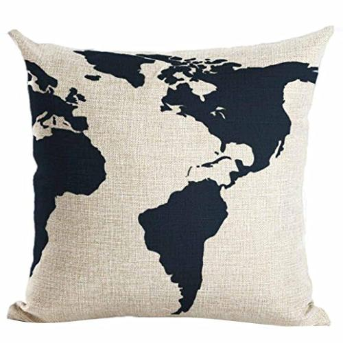 pillow cover map world print