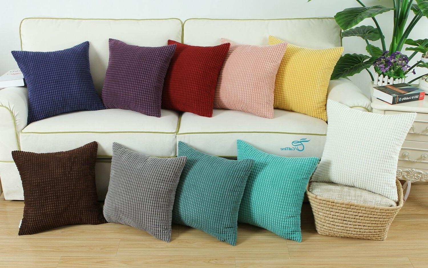 pillows throw cushion covers solid soft corduroy
