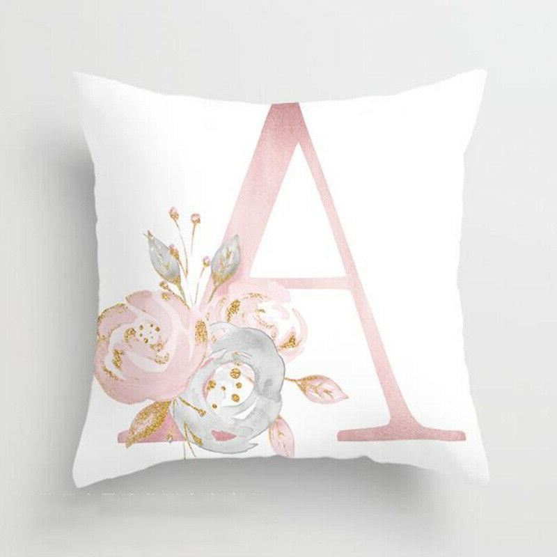 Pink Cushion Cover Letter Print Case Throw Pillowcase Home